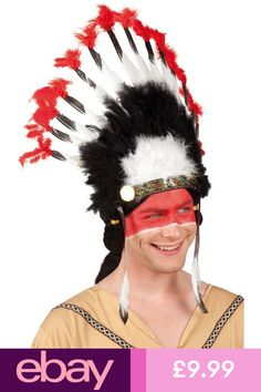 5feeb8e8e7b Mens Ladies Red Native Indian Feather Headdress Fancy Dress Costume Outfit  Hat