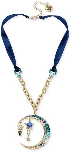 Betsey Johnson Gold-Tone Multi-Stone Moon & Star Pendant Blue Velvet Necklace