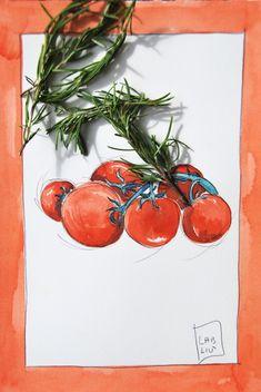 illustrazione acquerello per cucina o ristorante, pomodori pachino #illustrazione #acquerello #pomodori #pomodoripachino #pachino #verdure #disegni ricette #ricetteillustrate #poster #cucina #arredamento #arredamentocucina #postercucina