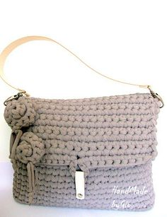 Flower bag: borsa in fettuccia tortora.
