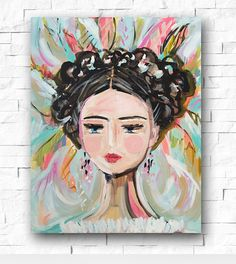 Warrior Girl, Woman painting portrait impressionist orig. 18 x by Marendevineart