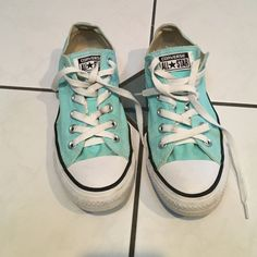 Tiffany blue converse Size 8 women's converse.  Very cute pair.  I got a new pair, they have been worn a few times but in very  good condition.  9/10. NO TRADES AND PLEASE MAKE OFFERS THRU THE OFFER BUTTON. Converse Shoes Sneakers