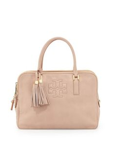 Tory Burch Thea Triple-Zip Leather Tote Bag, Porcelain Pink