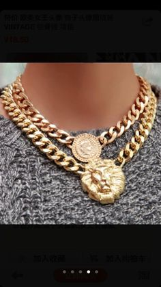 Vintage rihanna Versace style gold chunky lion/queen head chain necklace/bracelet(20%off before 7th)