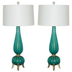 pair of murano lamps in aqua gold - italy - late 20th c - HEIGHT: 37 in. (94 cm)  DIAMETER: 7 in. (18 cm)