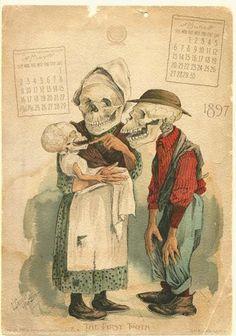 Antikamnia 1897 Calendar page w/ skeleton - May/June