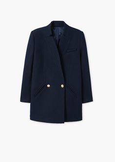 Пальто в стиле милитари, шерсть | MANGO МАНГО