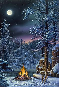 On the night of a full moon the northern lights are peaking out of the trees over a camp fire on a wonderful winter night in Kim Norlien& Fire and Ice. Winter Szenen, Winter Magic, Winter Night, Winter Time, Christmas Scenes, Christmas Art, Winter Christmas, Beautiful Christmas, Winter Pictures