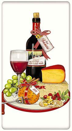 Wine and Cheese for Santa Christmas 100% Cotton Flour Sack Dish Towel Tea Towel