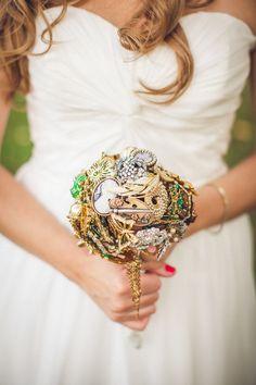 Glitter and gold make for an innovative bouquet: http://www.stylemepretty.com/2014/11/24/rustic-farm-house-wedding/ | Photography: Peter Gubernat  - petergubernat.com