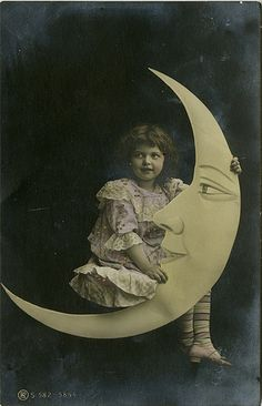 Little Girl on a Paper Moon - Hand Colored Real Photo Postcard