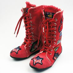 Kids' boots modeled after old school boxing boots. DYING!   Milk N Soda