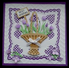 S127 Hand made Birthday Card using Anja Square and Basket Dies