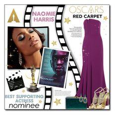 """#755 - Oscars Red Carpet: Naomie Harris"" by lilmissmegan ❤ liked on Polyvore featuring KAROLINA, Halston Heritage, Edie Parker, LE VIAN, Giuseppe Zanotti, RedCarpet, Oscars, academyawards, redcarpetfashion and naomieharris"