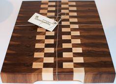 Custom Made End Grain Walnut And Maple Wood Cutting Board