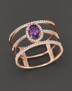 $Amethyst and Diamond Geometric Ring in 14K Rose Gold - Bloomingdale's