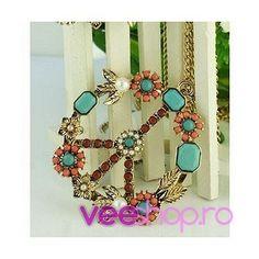 Colier hippie, colie semnul pacii, decorat cu cristale colorate si perle, culoare bronz, colier vintage