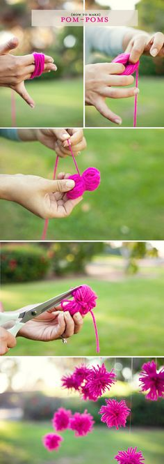 Fun crafts, crafts for kids, paper crafts, arts and crafts, pom pom Fun Crafts, Diy And Crafts, Crafts For Kids, Arts And Crafts, Paper Crafts, Diy Projects To Try, Craft Projects, Diy Pompon, Diy Fleur