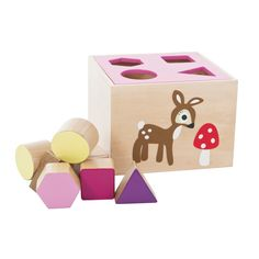 SEBRA Wooden Shapes Box Pink --- Wooden shapes box by Sebra with printed forest motive. the box includes 8 geometric shaped blocks. Available in blue and pink. Age: from 12 months Toddler Toys, Baby Toys, Cubes, 1st Birthday Presents, Wooden Toy Boxes, Forest Girl, Wooden Shapes, Kids Store, Wood Toys