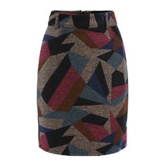 SheIn(sheinside) Colour Geometric Print Slim Skirt (€14) ❤ liked on Polyvore featuring skirts, multi, geometric print skirt, knee length pencil skirt, geometric skirt, formal skirts and slimming skirts