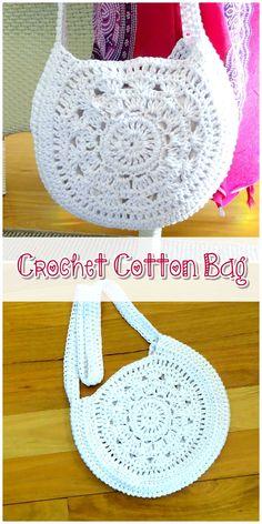 Women's Sewing Bag - Crochet Bag Crochet Tote, Crochet Handbags, Crochet Purses, Cotton Crochet, Crochet Pattern, Hand Crochet, Crochet Shoulder Bags, Bag Women, Bobble Stitch