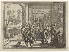Jacobus Harrewijn | Troonafstand van Karel V, Jacobus Harrewijn, 1682 - 1730 | De troonafstand van keizer Karel V op 25 oktober 1555 in Brussel waarop zijn zoon Filips II Heer der Nederlanden wordt. Op de achtergrond het vertrek van Karel V uit Vlissingen, na zijn troonafstand, naar de abdij San Jerónimo.
