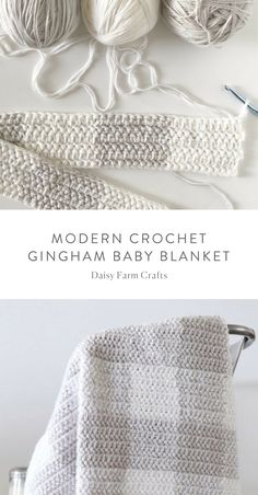 Free Pattern - Modern Crochet Gingham Baby Blanket I just love the colors here, could easily adapt it to a knitting pattern. Crochet Diy, Manta Crochet, Crochet Crafts, Crochet Ideas, Crochet Tutorials, Craft Tutorials, Crochet For Beginners Blanket, Baby Blanket Crochet, Crochet Blankets