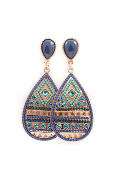 Harper Teardrop Earrings in Blues on Emma Stine Limited