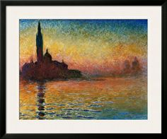 Sunset In Venice Print by Claude Monet at Art.com