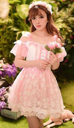 Japanese sweet princess pink posy short-sleeved chiffon dress