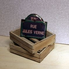 Paris street sign - Rue Jules Verne, Dollhouse miniature, scale 1:12 Susanne Idun Mørch by Petit Brocante
