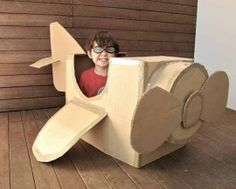 """Cardboard airplane and other great """"cardboard"""" ideas! The grandkids will love these!"""