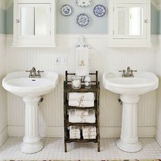 .Lilac Lane Cottage: More Cottage Bathroom Inspiration--love the look and feel of this room for either the master or the powder! No pedastals for us though, sadly. Gotta have storage...