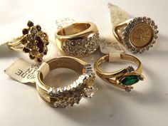 18K Goldplated rings vintage lot of 5 , Size 5,USA made, CZs, marked,(LotM55)NR #AmericanRing #Variety