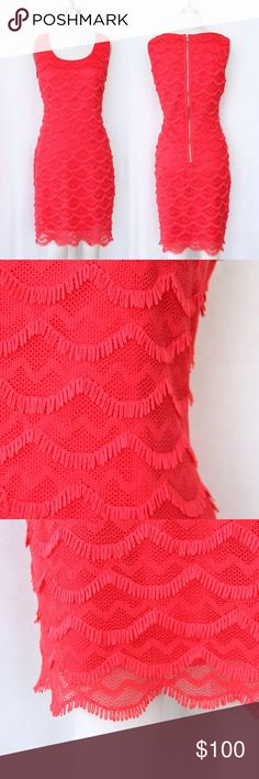 Coral Guess Dress This dress is in a gorgeous bright coral color! Some stretch. Zip back. Excellent condition! GUESS Dresses