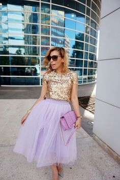 @roressclothes closet ideas #women fashion outfit #clothing style apparel purple skirt, glossy blouse