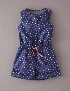 Spotty Playsuit 32485 Dresses at Boden Little Girl Summer Dresses, Dresses Kids Girl, Kids Outfits Girls, Girl Outfits, Girls Playsuit, Girls Rompers, Baby Girl Fashion, Kids Fashion, Kids Blouse Designs
