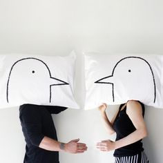 Too cute. Probably could DIY this with fabric markers and white pillow cases.