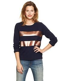 Metallic stripe sweatshirt