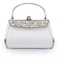 Pochette soirée classique métal couleur argent avec poignet sac à main femme pas cher