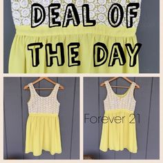 Perfect yellow dress Pre-loved. But still in great condition only worn once! Is fully lined. Top has lace detail. Such a cute dress!  I am open to offers so feel free to use the blue offer button below.If any questions please feel free to ask Forever 21 Dresses Mini