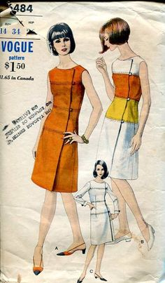 Vogue 6484 Mccalls Patterns, Vintage Sewing Patterns, Clothing Patterns, Vogue Patterns, 1960s Dresses, 1960s Outfits, Vintage Outfits, Seventies Fashion, 1960s Fashion