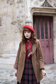 Plaid Skirt, Red Shirt, Beret, and Brown Coat = favorite look