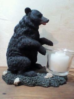 Resin-Black-Bear-With-Votive-Candle-Holder