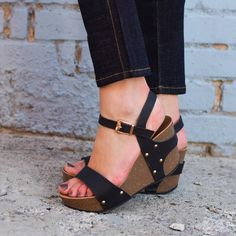 """Black strap wedges with a buckle at the ankle for easy on/off.    Platform height approx. 1''  Heel height approx. 3"""" #lovelulu"""