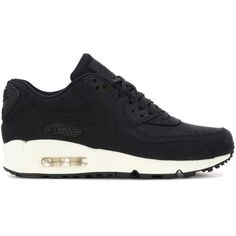 Nike Air Max 90 Pinnacle Leather Sneakers ($86) ❤ liked on Polyvore featuring shoes, sneakers, nike trainers, black trainers, nike sneakers, black leather sneakers and black shoes