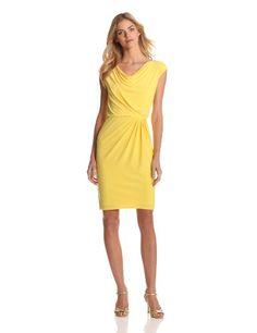 Evan Picone Women's Matte Jersey Cowl Neck Cap Sleeve Blouson Dress, Yellow, 12 Evan Picone,http://www.amazon.com/dp/B009WH4ZQM/ref=cm_sw_r_pi_dp_j0Sdsb121A3EHSW5