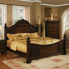 The Kensington collection reflects traditional elegant styling and decorative features that will create drama and impact in any bedroom setting. It features 4 ornately detailed finial posts. arched headboard and footboard with detailed resin carvings. Wood Bed Design, Panel Bed, Bedroom Set, Furniture, Bed, Home, Bedroom, Wildon Home, Bed Furniture