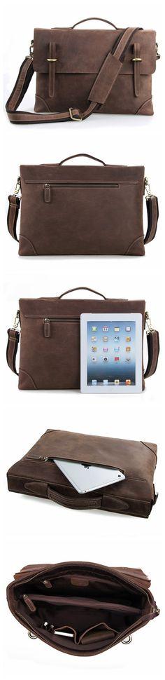 """ROCKCOW Crazy Horse Leather Laptop Messenger Bag, Business Briefcase, Men's Bag 0341 Model Number: 0341 Dimensions: 15.3""""L x 3.1""""W x 11.4""""H / 39cm(L) x 8cm(W) x 29cm(H) Weight: 3.5lb / 1.6kg Hardware:"""