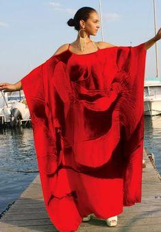 SOLD OUT Pre-Order 3 Weeks. French Roses : Dress spiral of rose petals. Silk Kaftan, Caftan Dress, Maxi Wrap Dress, Silk Dress, African Fashion Dresses, African Dress, Fashion Outfits, Gothic Fashion, Kaftan Designs